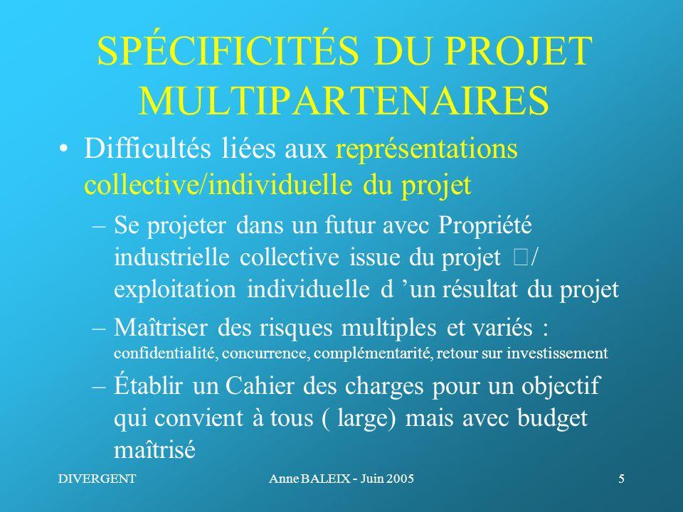 DIVERGENTAnne BALEIX - Juin 20055 SPÉCIFICITÉS DU PROJET MULTIPARTENAIRES Difficultés liées aux représentations collective/individuelle du projet –Se