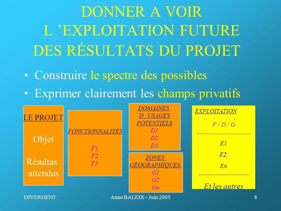 DIVERGENTAnne BALEIX - Juin 20058 DONNER A VOIR L EXPLOITATION FUTURE DES RÉSULTATS DU PROJET Construire le spectre des possibles Exprimer clairement