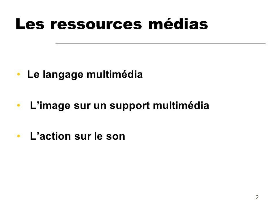 2 Les ressources médias Le langage multimédia Limage sur un support multimédia Laction sur le son