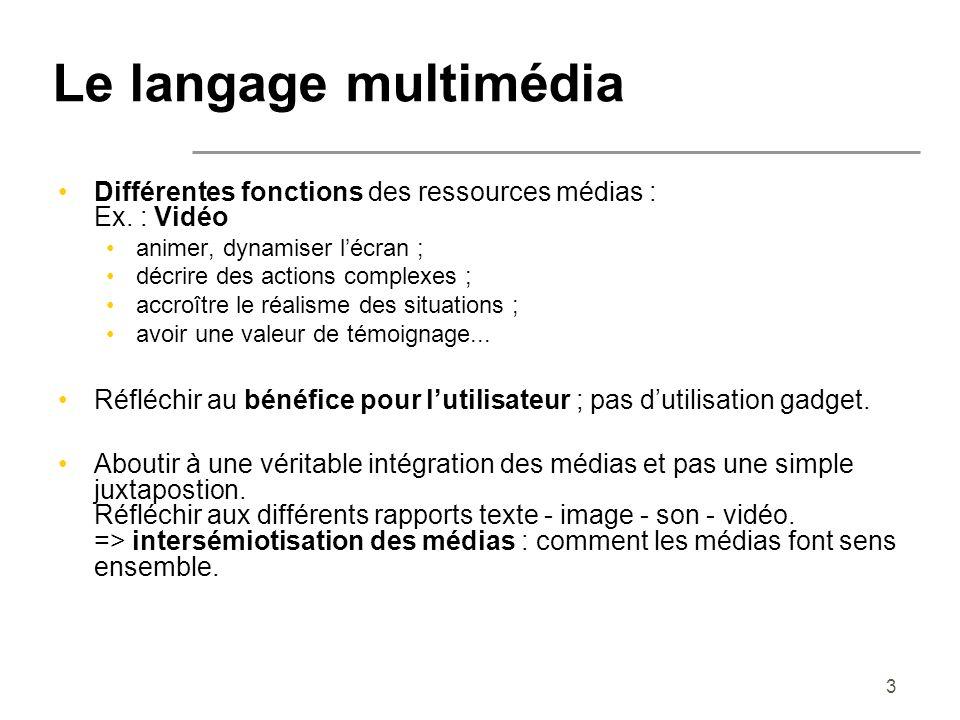 3 Le langage multimédia Différentes fonctions des ressources médias : Ex. : Vidéo animer, dynamiser lécran ; décrire des actions complexes ; accroître