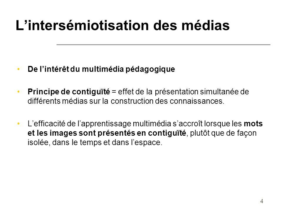 4 Lintersémiotisation des médias De lintérêt du multimédia pédagogique Principe de contiguïté = effet de la présentation simultanée de différents médi