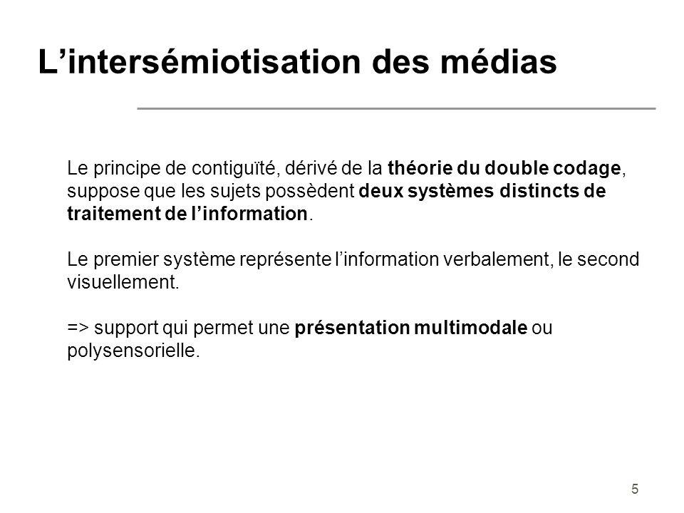 5 Lintersémiotisation des médias Le principe de contiguïté, dérivé de la théorie du double codage, suppose que les sujets possèdent deux systèmes dist