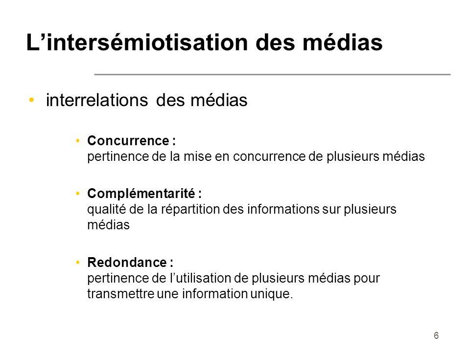 6 Lintersémiotisation des médias interrelations des médias Concurrence : pertinence de la mise en concurrence de plusieurs médias Complémentarité : qu