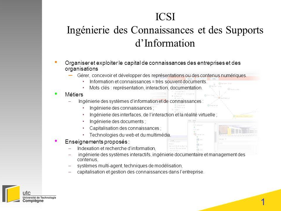 1 ICSI Ingénierie des Connaissances et des Supports dInformation Organiser et exploiter le capital de connaissances des entreprises et des organisations – Gérer, concevoir et développer des représentations ou des contenus numériques.