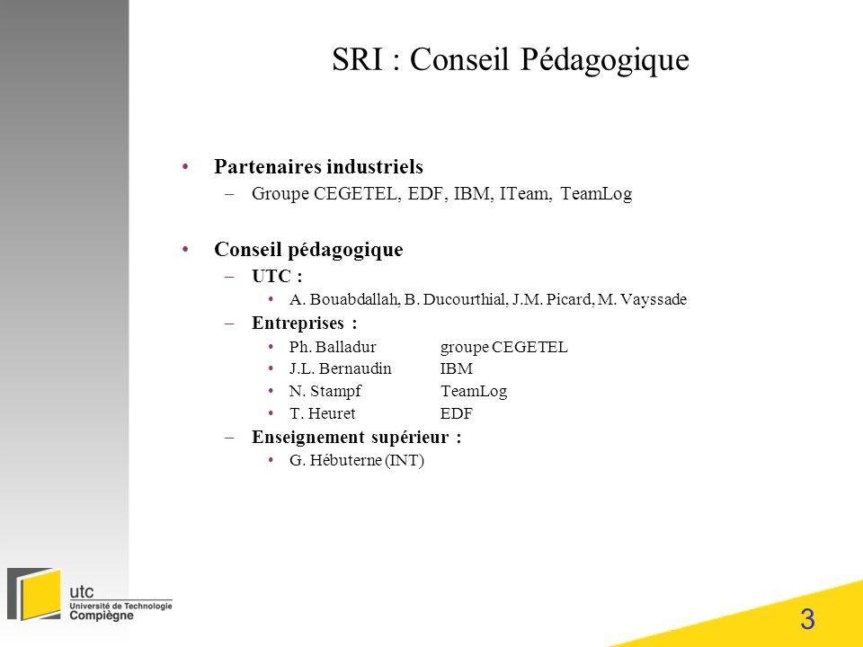 3 SRI : Conseil Pédagogique Partenaires industriels –Groupe CEGETEL, EDF, IBM, ITeam, TeamLog Conseil pédagogique –UTC : A. Bouabdallah, B. Ducourthia