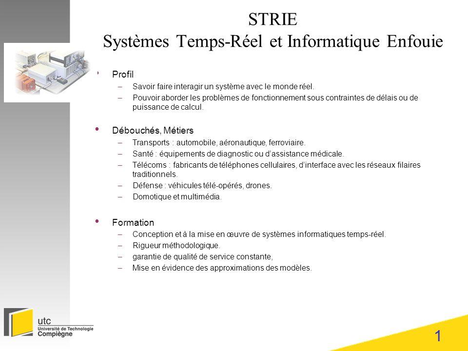 1 STRIE Systèmes Temps-Réel et Informatique Enfouie Profil –Savoir faire interagir un système avec le monde réel. –Pouvoir aborder les problèmes de fo