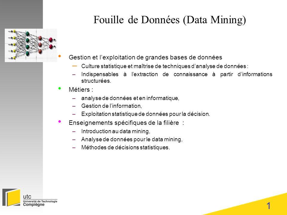 1 Fouille de Données (Data Mining) Gestion et lexploitation de grandes bases de données – Culture statistique et maîtrise de techniques danalyse de données : –Indispensables à lextraction de connaissance à partir dinformations structurées.