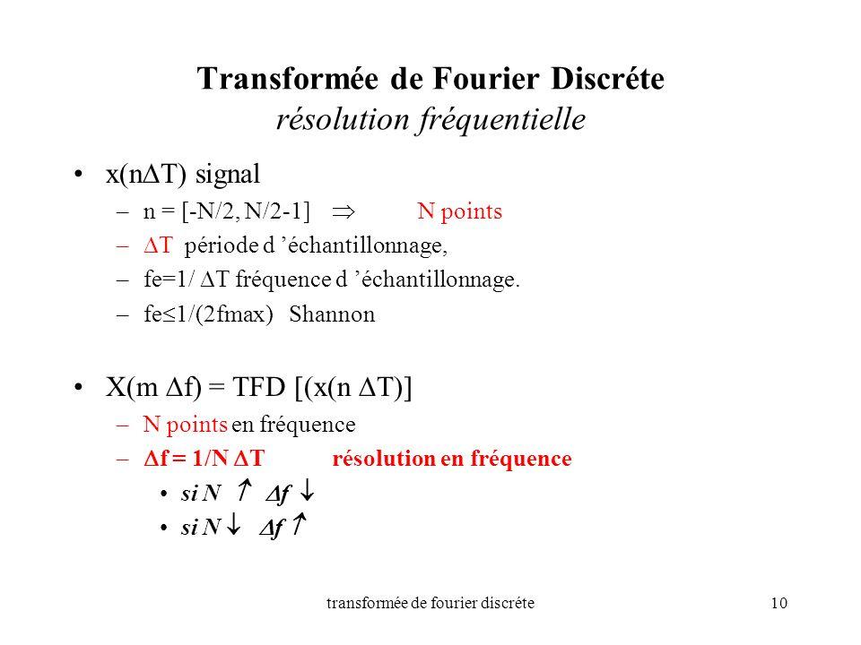 transformée de fourier discréte10 Transformée de Fourier Discréte résolution fréquentielle x(n T) signal –n = [-N/2, N/2-1] N points – T période d éch