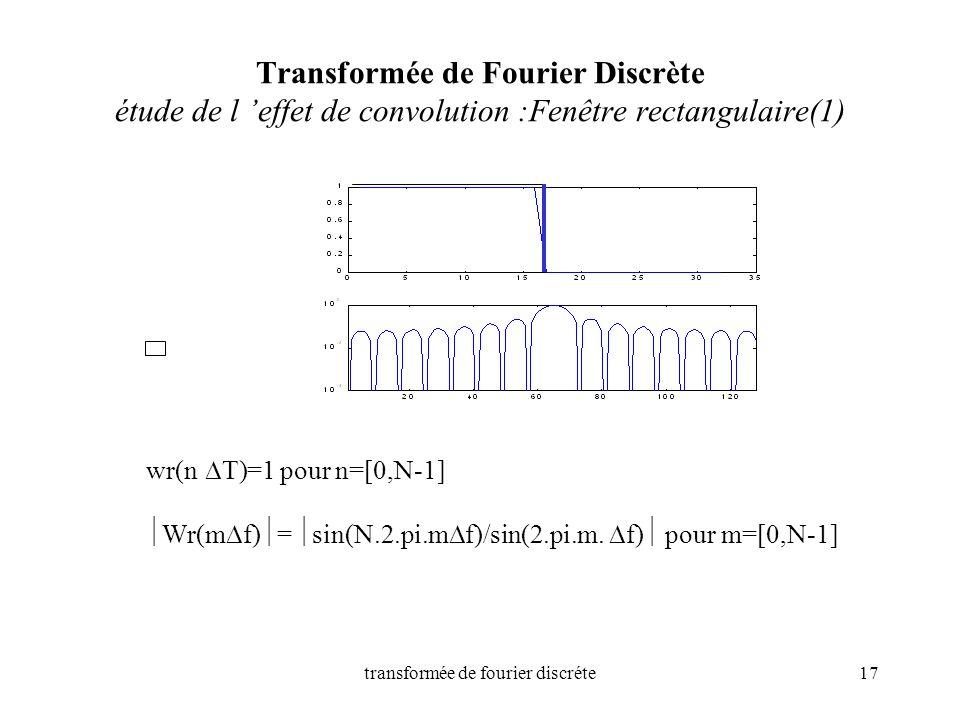 transformée de fourier discréte17 Transformée de Fourier Discrète étude de l effet de convolution :Fenêtre rectangulaire(1) wr(n T)=1 pour n=[0,N-1] W