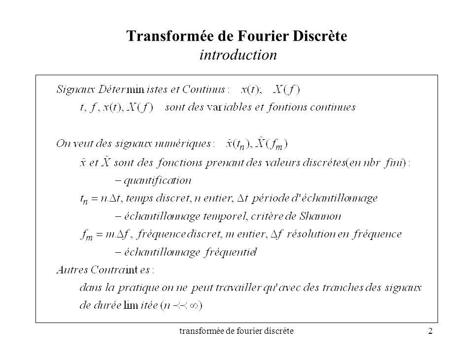 transformée de fourier discréte2 Transformée de Fourier Discrète introduction