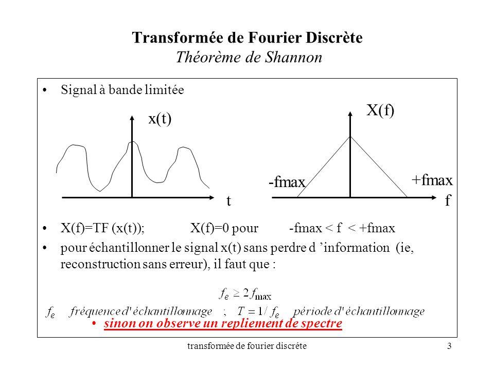 transformée de fourier discréte3 Transformée de Fourier Discrète Théorème de Shannon Signal à bande limitée X(f)=TF (x(t));X(f)=0 pour -fmax < f < +fm