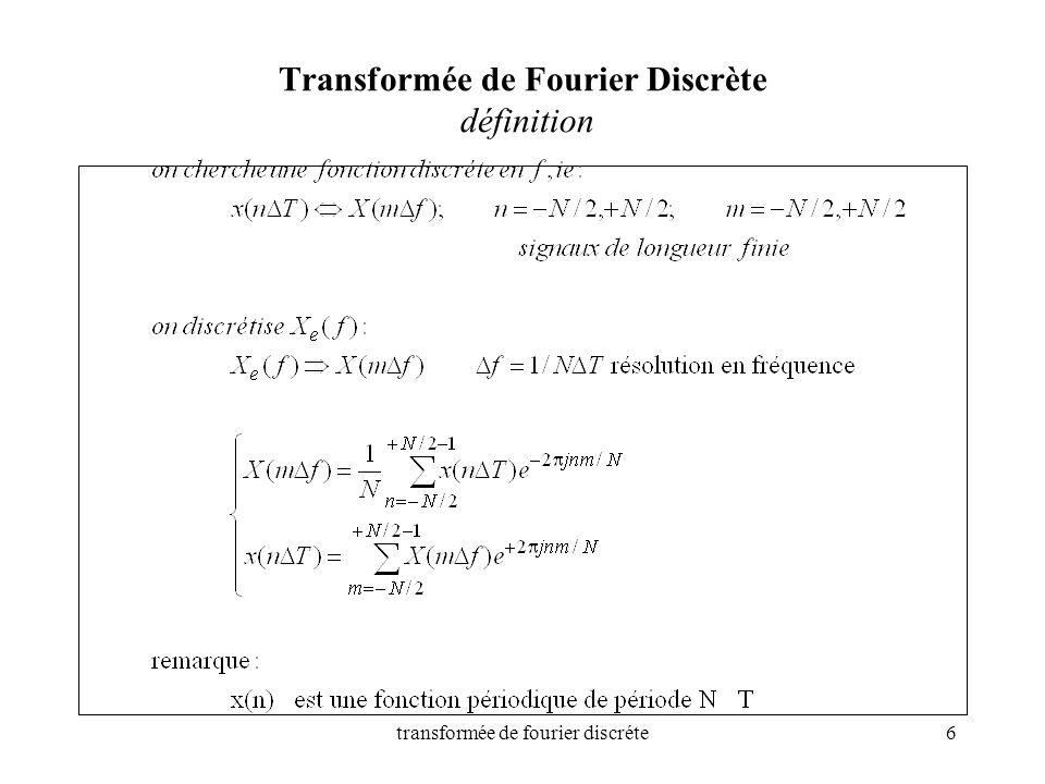 transformée de fourier discréte6 Transformée de Fourier Discrète définition