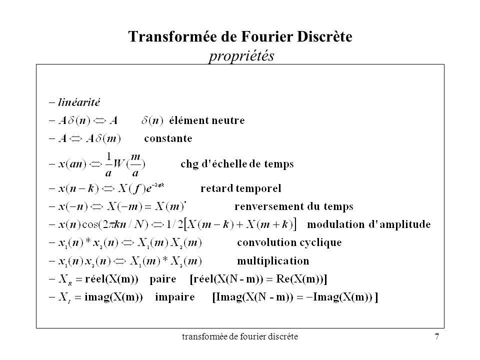 transformée de fourier discréte7 Transformée de Fourier Discrète propriétés