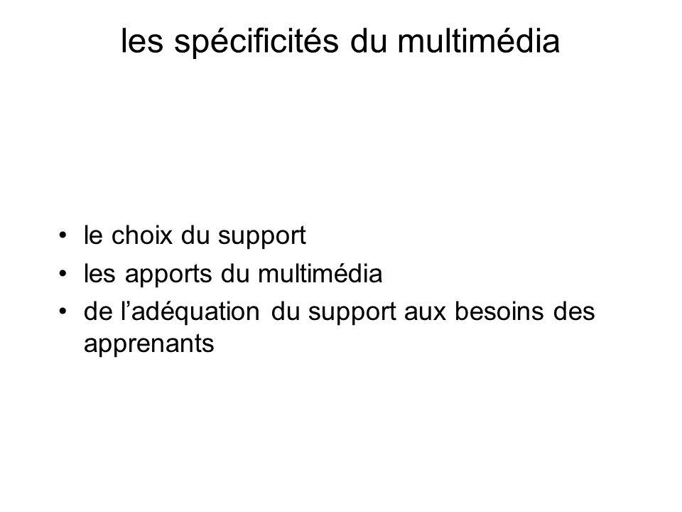 les spécificités du multimédia le choix du support les apports du multimédia de ladéquation du support aux besoins des apprenants