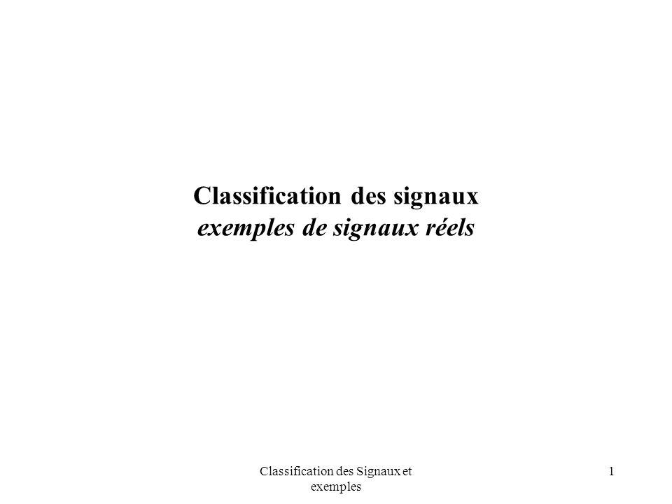 Classification des Signaux et exemples 2 Classification des signaux Introduction signaux et modèles générateurs signaux déterministes périodiques périodiques, non périodique descripteurs signaux aléatoires stationnarité, ergodicité descripteurs statistiques exemples de signaux réels