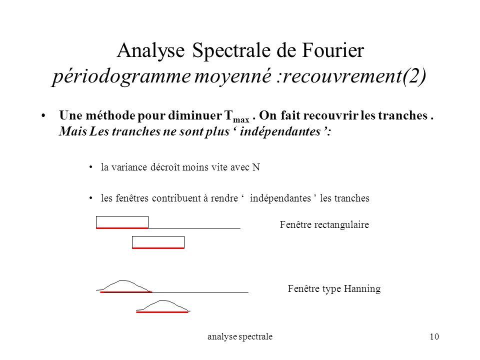 analyse spectrale10 Analyse Spectrale de Fourier périodogramme moyenné :recouvrement(2) Une méthode pour diminuer T max. On fait recouvrir les tranche
