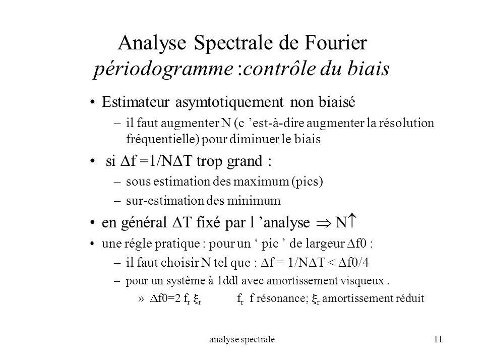 analyse spectrale11 Analyse Spectrale de Fourier périodogramme :contrôle du biais Estimateur asymtotiquement non biaisé –il faut augmenter N (c est-à-