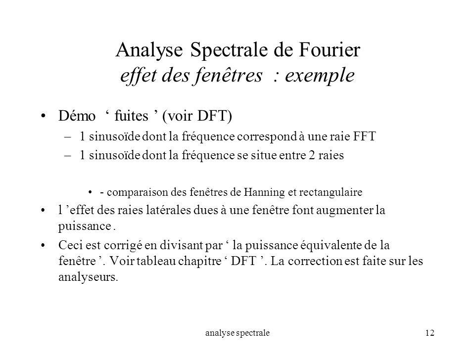 analyse spectrale12 Analyse Spectrale de Fourier effet des fenêtres : exemple Démo fuites (voir DFT) –1 sinusoïde dont la fréquence correspond à une r