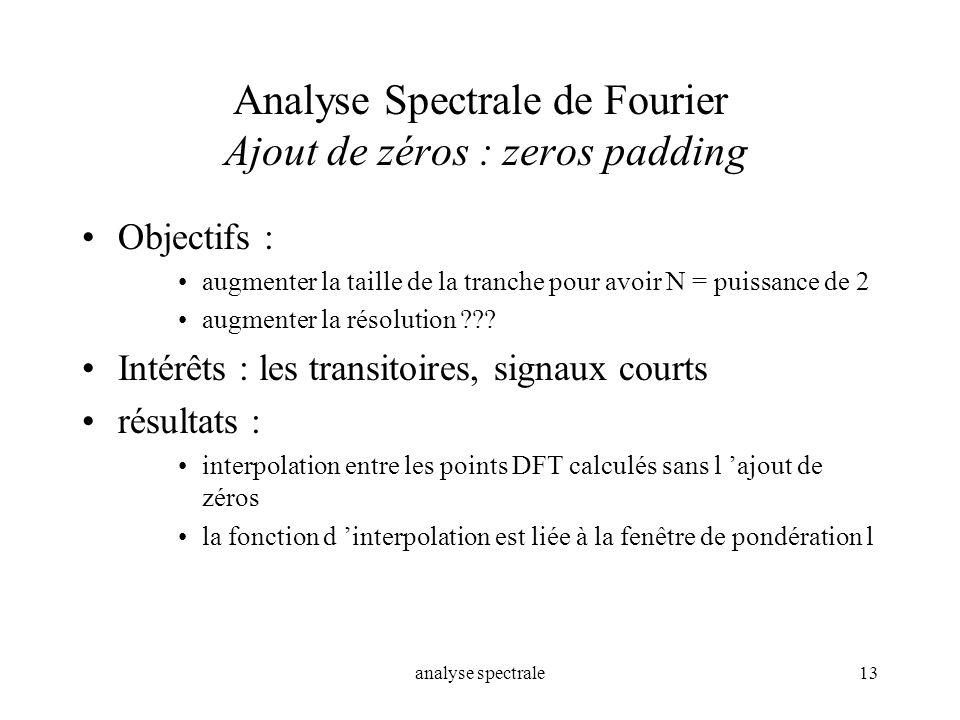 analyse spectrale13 Analyse Spectrale de Fourier Ajout de zéros : zeros padding Objectifs : augmenter la taille de la tranche pour avoir N = puissance