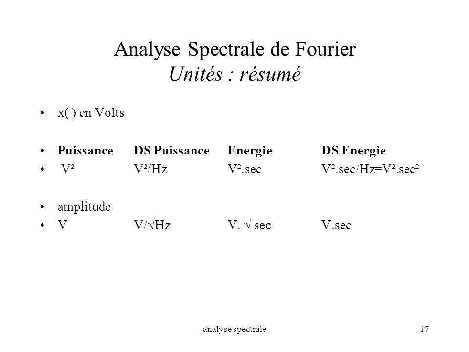 analyse spectrale17 Analyse Spectrale de Fourier Unités : résumé x( ) en Volts Puissance DS PuissanceEnergieDS Energie V²V²/HzV².secV².sec/Hz=V².sec²