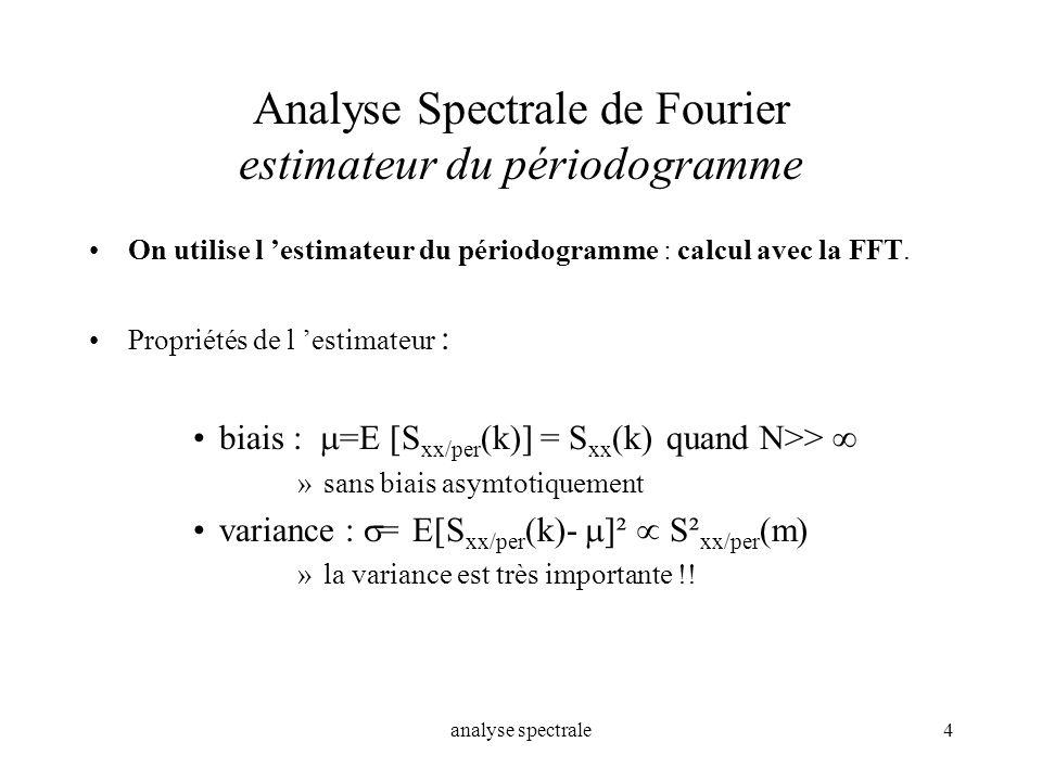 analyse spectrale4 Analyse Spectrale de Fourier estimateur du périodogramme On utilise l estimateur du périodogramme : calcul avec la FFT. Propriétés