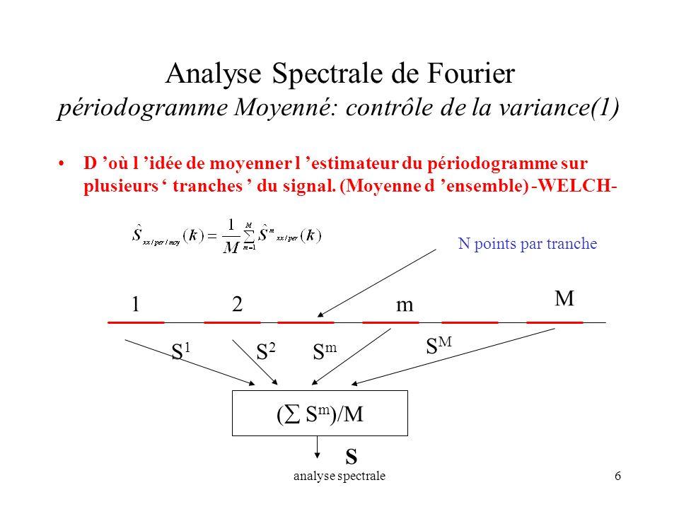 analyse spectrale6 Analyse Spectrale de Fourier périodogramme Moyenné: contrôle de la variance(1) D où l idée de moyenner l estimateur du périodogramm