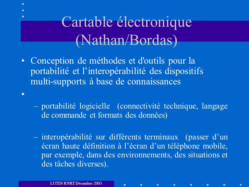 Cartable électronique (Nathan/Bordas) Conception de méthodes et d'outils pour la portabilité et linteropérabilité des dispositifs multi-supports à bas