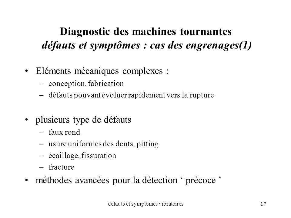 défauts et symptômes vibratoires17 Diagnostic des machines tournantes défauts et symptômes : cas des engrenages(1) Eléments mécaniques complexes : –co