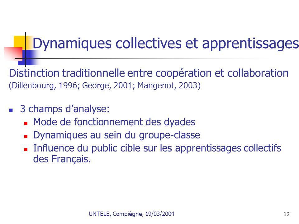 12 Dynamiques collectives et apprentissages Distinction traditionnelle entre coopération et collaboration (Dillenbourg, 1996; George, 2001; Mangenot,