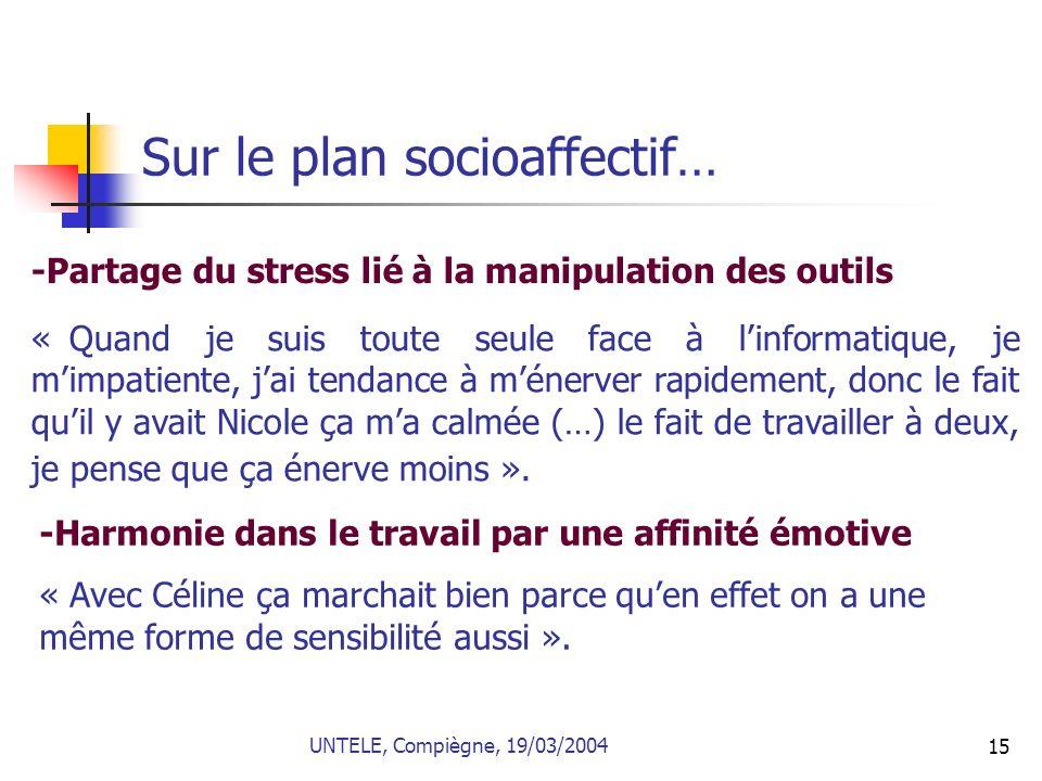 15 Sur le plan socioaffectif… -Partage du stress lié à la manipulation des outils « Quand je suis toute seule face à linformatique, je mimpatiente, ja