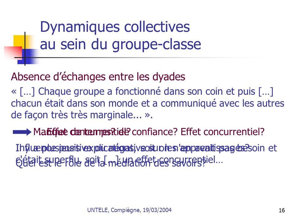 16 Dynamiques collectives au sein du groupe-classe Absence déchanges entre les dyades « […] Chaque groupe a fonctionné dans son coin et puis […] chacu