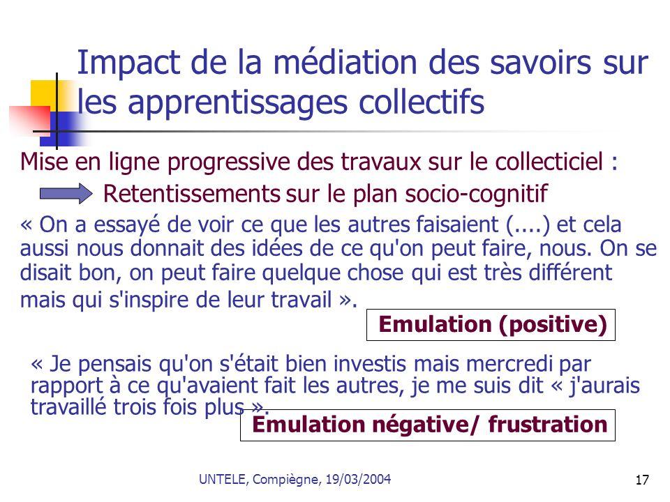 17 Impact de la médiation des savoirs sur les apprentissages collectifs Mise en ligne progressive des travaux sur le collecticiel : Retentissements su