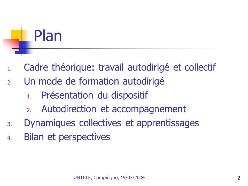2 Plan 1. Cadre théorique: travail autodirigé et collectif 2. Un mode de formation autodirigé 1. Présentation du dispositif 2. Autodirection et accomp