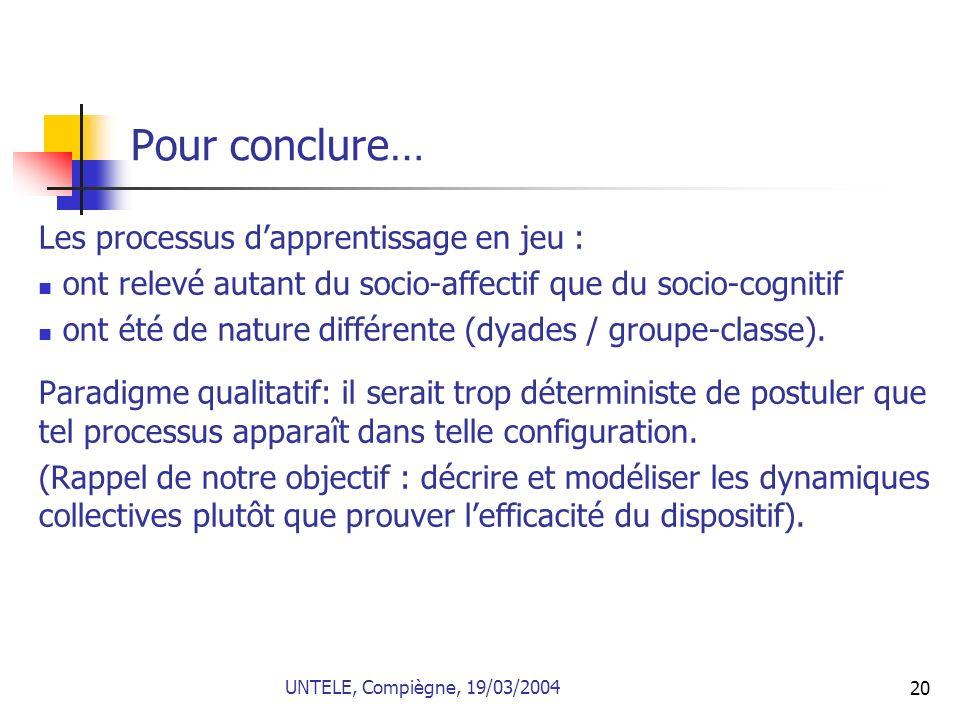 20 Pour conclure… Les processus dapprentissage en jeu : ont relevé autant du socio-affectif que du socio-cognitif ont été de nature différente (dyades