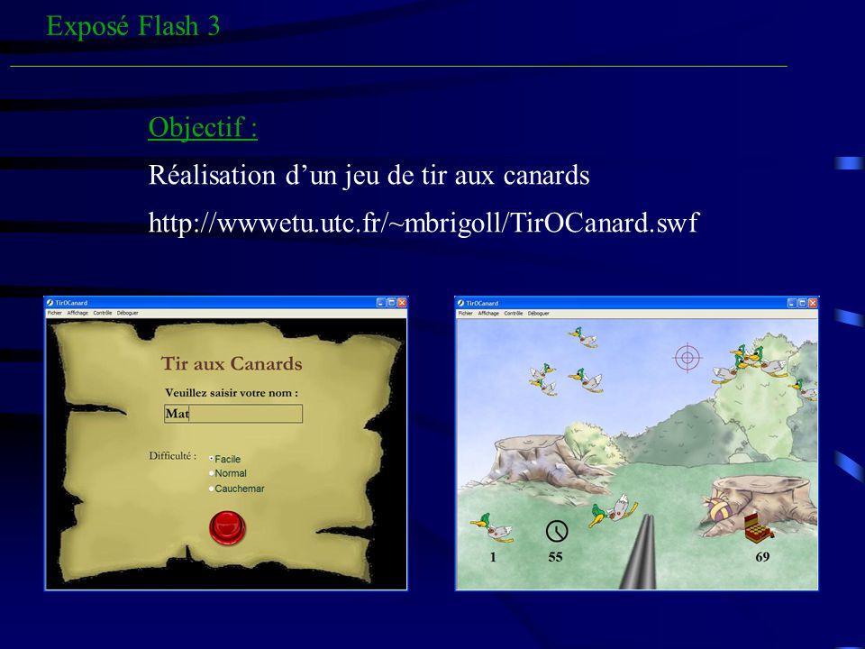 Exposé Flash 3 Objectif : Réalisation dun jeu de tir aux canards http://wwwetu.utc.fr/~mbrigoll/TirOCanard.swf