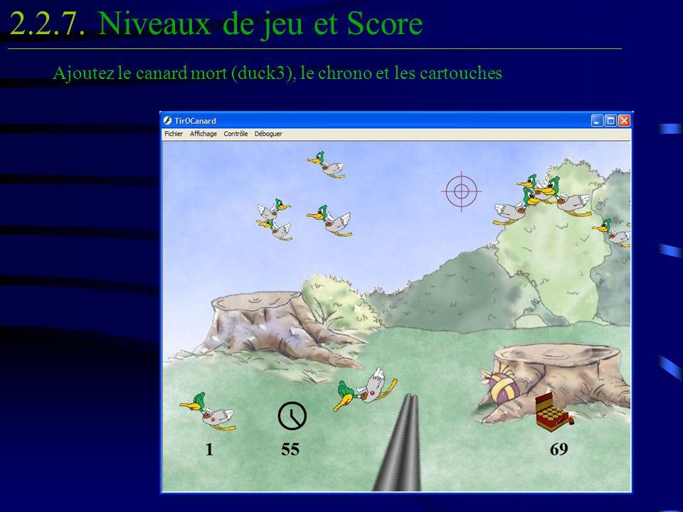 Niveaux de jeu et Score2.2.7. Ajoutez le canard mort (duck3), le chrono et les cartouches