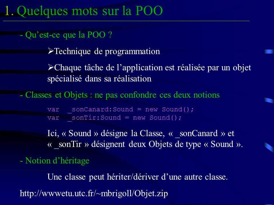 Quelques mots sur la POO1. - Quest-ce que la POO ? Technique de programmation Chaque tâche de lapplication est réalisée par un objet spécialisé dans s