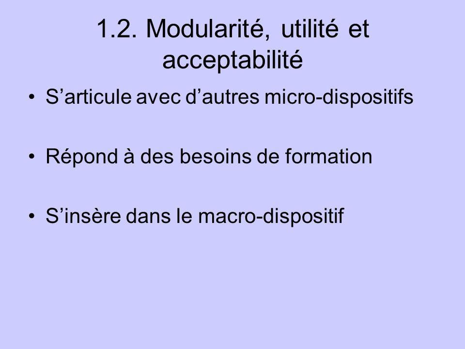 1.2. Modularité, utilité et acceptabilité Sarticule avec dautres micro-dispositifs Répond à des besoins de formation Sinsère dans le macro-dispositif