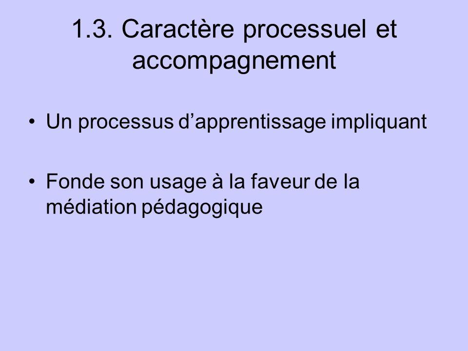 1.3. Caractère processuel et accompagnement Un processus dapprentissage impliquant Fonde son usage à la faveur de la médiation pédagogique