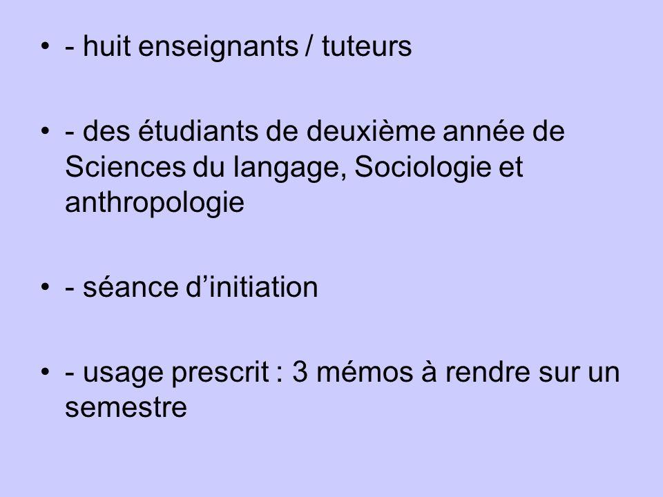 - huit enseignants / tuteurs - des étudiants de deuxième année de Sciences du langage, Sociologie et anthropologie - séance dinitiation - usage prescrit : 3 mémos à rendre sur un semestre