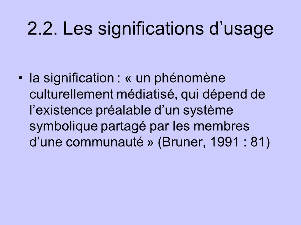2.2. Les significations dusage la signification : « un phénomène culturellement médiatisé, qui dépend de lexistence préalable dun système symbolique p