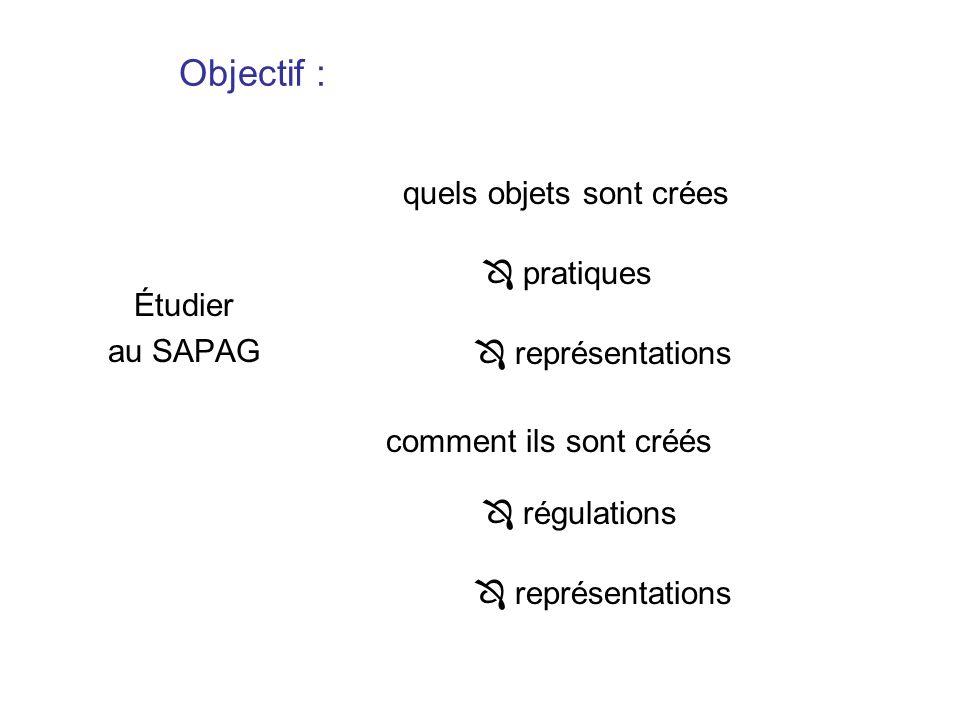 Objectif : Étudier au SAPAG quels objets sont crées comment ils sont créés pratiques représentations régulations représentations