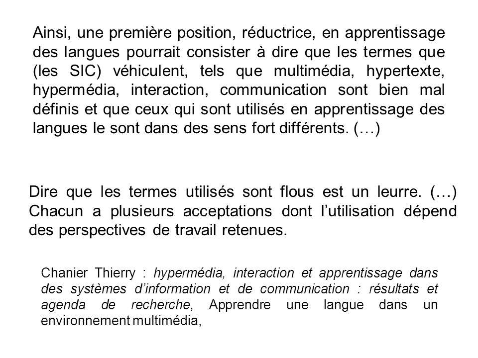Chanier Thierry : hypermédia, interaction et apprentissage dans des systèmes dinformation et de communication : résultats et agenda de recherche, Appr