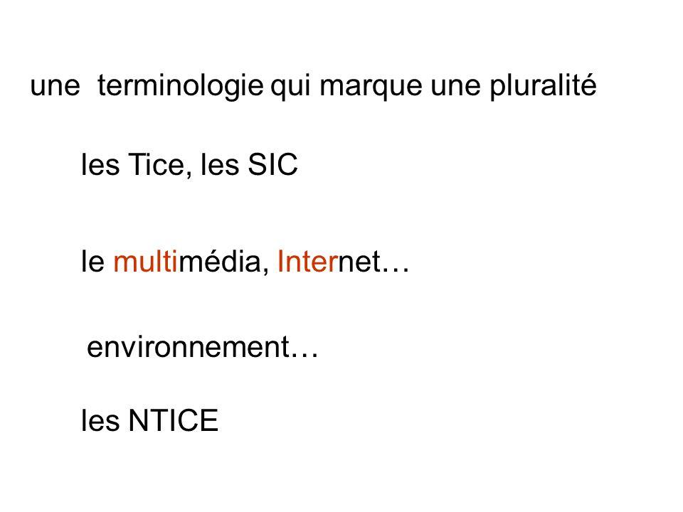 une terminologie qui marque une pluralité les Tice, les SIC le multimédia, Internet… environnement… les NTICE