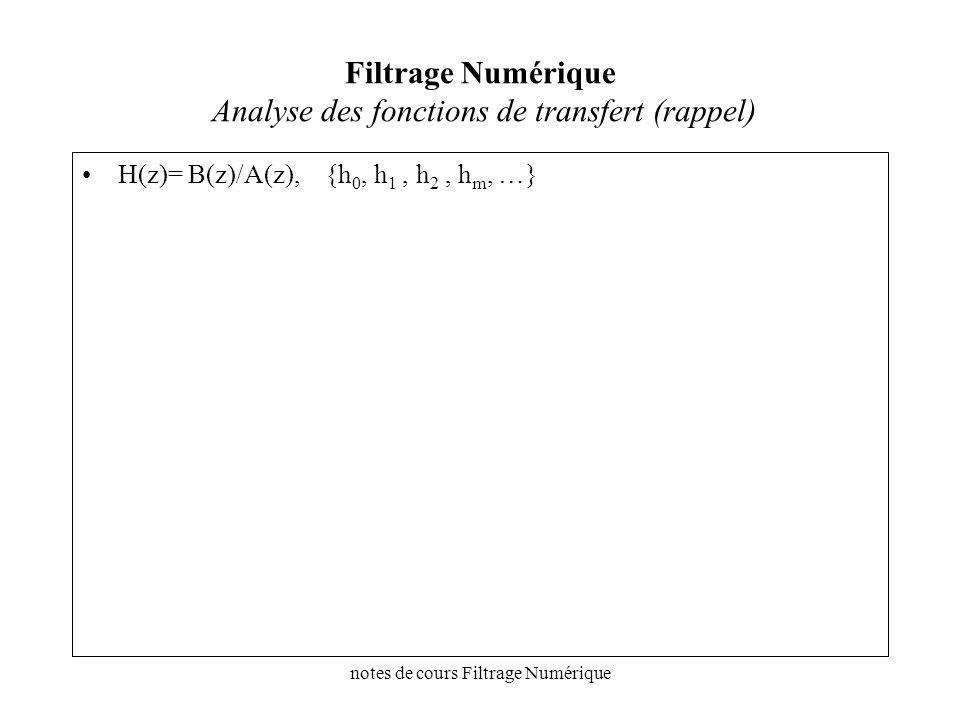 notes de cours Filtrage Numérique Filtrage Numérique Analyse des fonctions de transfert (rappel) H(z)= B(z)/A(z), {h 0, h 1, h 2, h m, …}