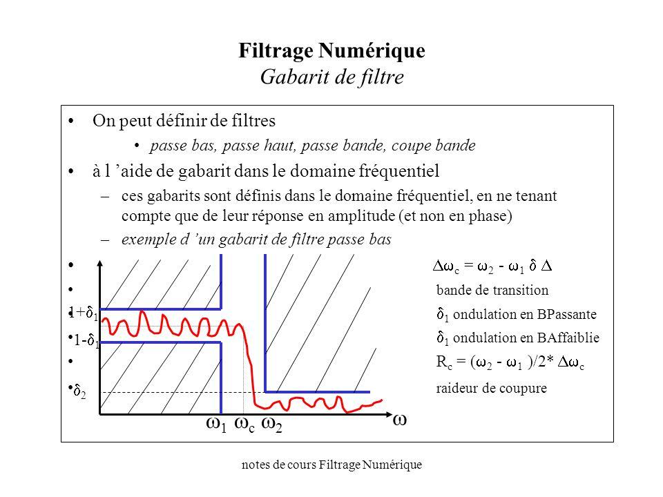 notes de cours Filtrage Numérique Filtrage Numérique représentations Y(z) = H(z).U(z) H(z)=B(z)/A(z) –B(z)= b 0 +b 1 z -1 +b 2 z -2 +…..+ b m z -m –A(z)= a 0 +a 1 z -1 +a 2 z -2 +…..+ a m z -m +..+ a n z -n H(z)=B(z)/A(z) = h i.z -i H(z)=B(z)/A(z) {h 0, h 1, h 2, h m, …} RII filtres à Réponse Impulsionnelle Infinie H(z)=B(z) {h 0, h 1, h 2, h m }, A(z)=1 RIF filtres à Réponse Impulsionnelle Finie H(z) {h(n)} U(z) u(n) Y(z) y(n)