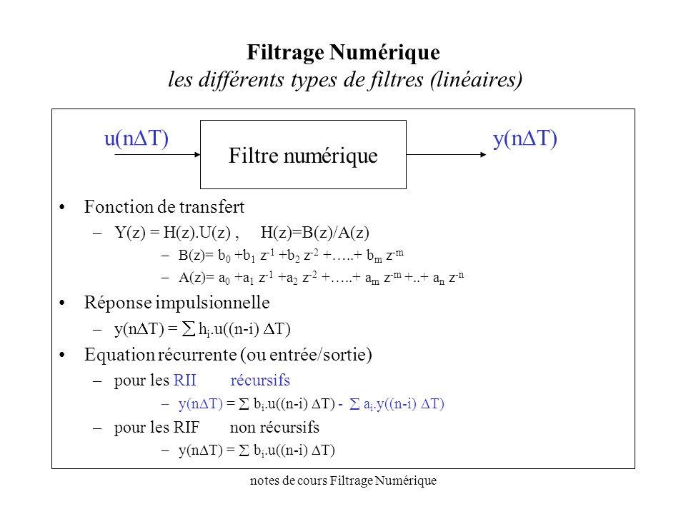 notes de cours Filtrage Numérique Filtrage Numérique Analyse des fonctions de transfert (rappel) H(z)= B(z)/A(z), {h 0, h 1, h 2, h m, …} analyse temporelle y(nT)=Z -1 [H(z).X(z)] avec X(z)=z/(z-1) échelon décomposition en éléments simples analyse harmonique x(t)=sin(wt), W(z)= z.sin(wt)/(z-e jwT )(z-e -jwT ) y(nt)=[H(w)].sin(nwt- w)) interprétation pôles et zéros H(z)= i (z-z i ) / j (z-p j )= i (e jwT -z i ) / j (e jwT -p j ) = i (M zi.