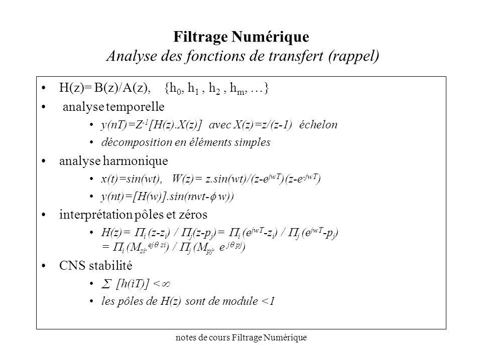 notes de cours Filtrage Numérique Filtres analogiques notations H(p)=N(p) / D(p), stable, deg(N(p))<deg(D(p)), on étudie l atténuation A(p)=A(jw) [A(jw)]= 20.log(1/[H(jw)] [A(w)] 2 = 1+K(w 2 ) –K(w 2 ) fonction caractéristique du filtre K(w 2 )= 1 en bande passnate K(w 2 )=0 en bande atténuée fréquences normalisées w >>> w/wc w >>> w/(w 1.w 2 ) 1/2 (w 1,w 2 ) largeur de bande