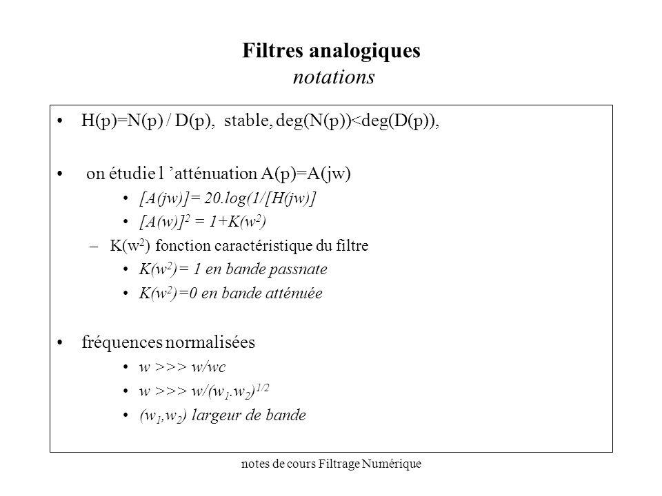 notes de cours Filtrage Numérique Filtres analogiques notations H(p)=N(p) / D(p), stable, deg(N(p))<deg(D(p)), on étudie l atténuation A(p)=A(jw) [A(j