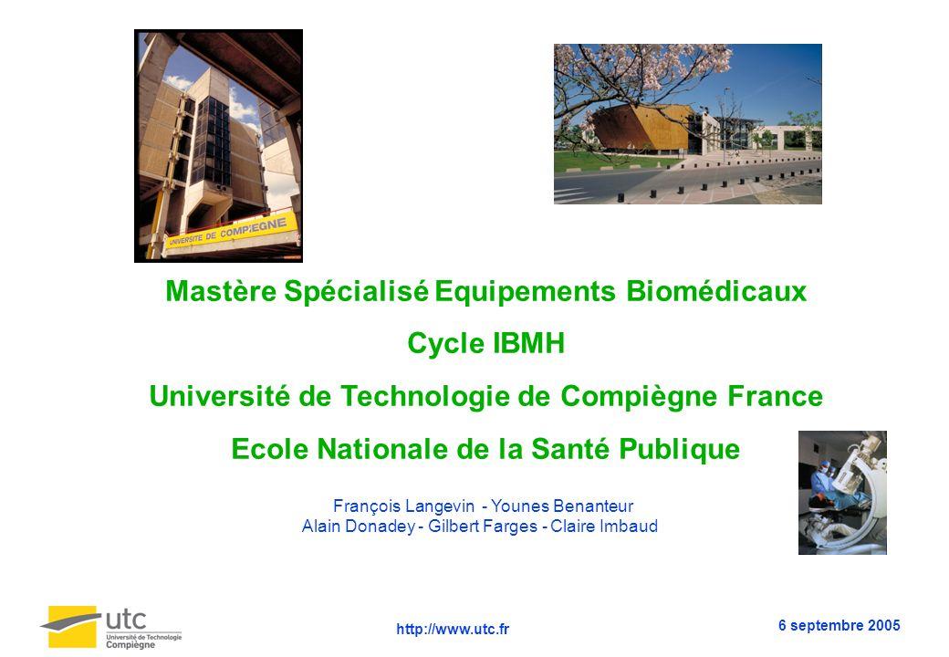 Mastère Spécialisé Equipements Biomédicaux Cycle IBMH Université de Technologie de Compiègne France Ecole Nationale de la Santé Publique François Lang